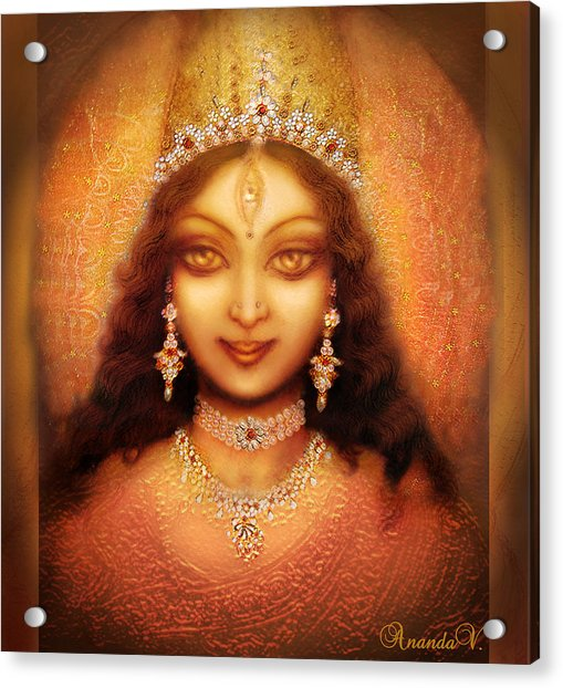 Golden Goddess Durga  Acrylic Print by Ananda Vdovic