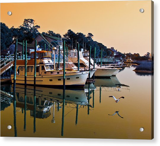 Golden Hour At The Marshwalk Acrylic Print