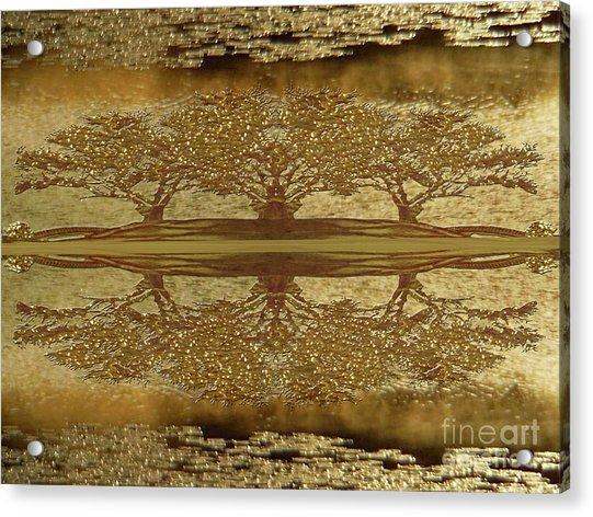 Golden Trees Reflection Acrylic Print