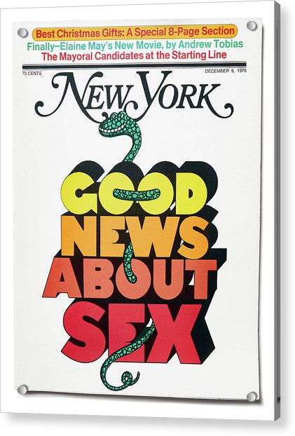 Acrylic Print featuring the mixed media Good News About Sex by Milton Glaser