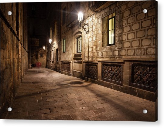 Gothic Quarter Of Barcelona At Night Acrylic Print by Artur Bogacki