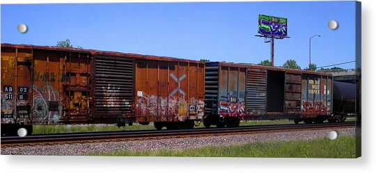 Graffiti Train With Billboard Acrylic Print