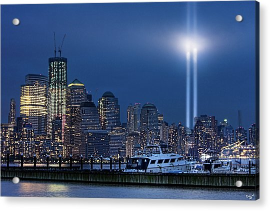 Acrylic Print featuring the photograph Ground Zero Tribute Lights And The Freedom Tower by Chris Lord