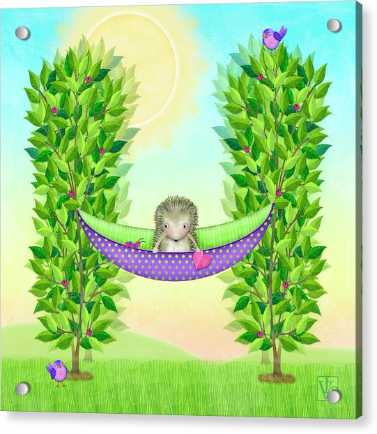 H Is For Hedgehog And Hammock Acrylic Print