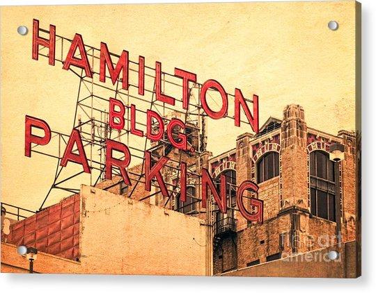 Hamilton Bldg Parking Sign Acrylic Print