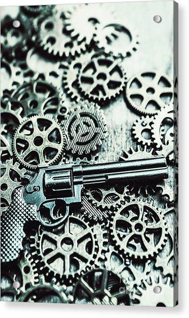 Handguns And Gears Acrylic Print