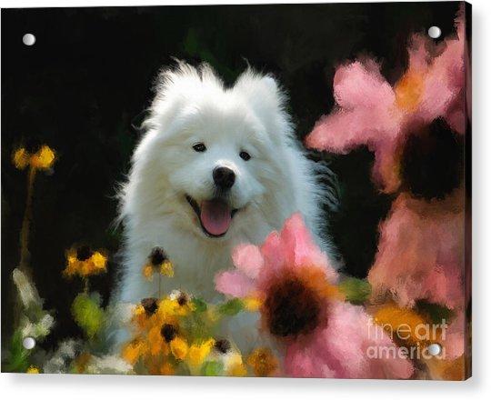 Happy Gal In The Garden Acrylic Print