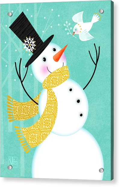 Happy Snowman Acrylic Print