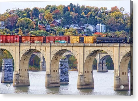 Acrylic Print featuring the photograph Harrisburg Trains Crossing by Alice Gipson
