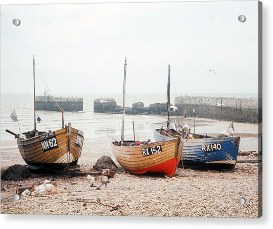 Hastings England Beached Fishing Boats Acrylic Print by Richard Singleton