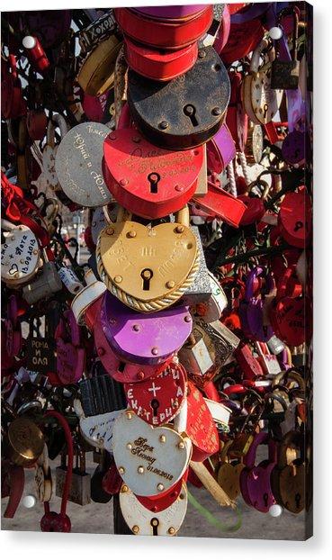 Hearts Locked In Love Acrylic Print