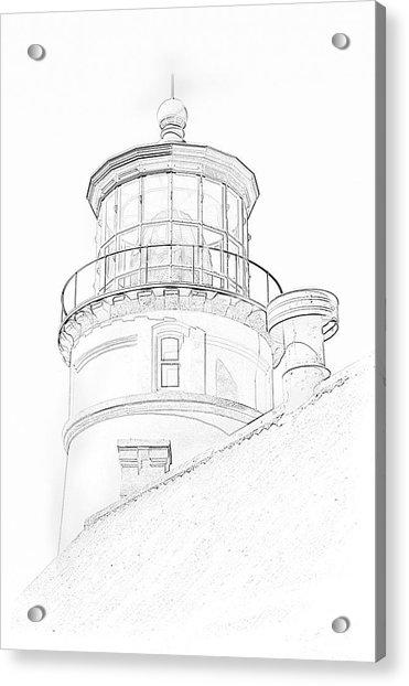 Hecitia Head Lighthouse Sketch Acrylic Print