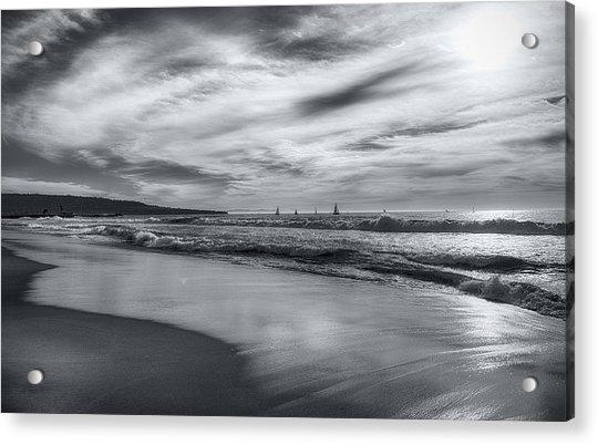Hermosa Evening Black And White Acrylic Print