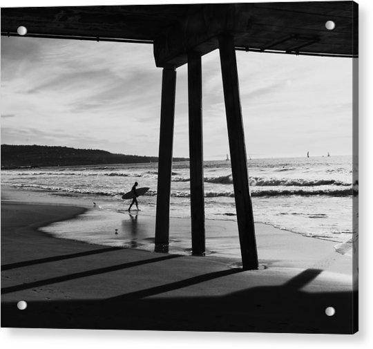 Hermosa Surfer Under Pier Acrylic Print
