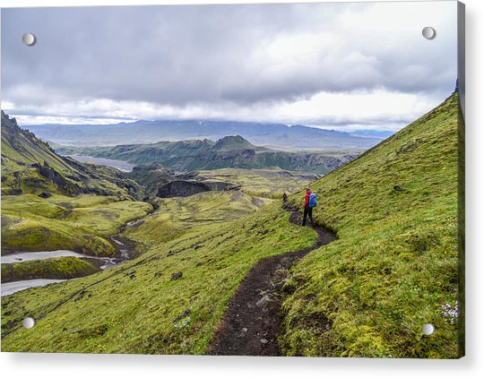 Hiking Into Thorsmork On The Fimmvorduhals Trail Acrylic Print