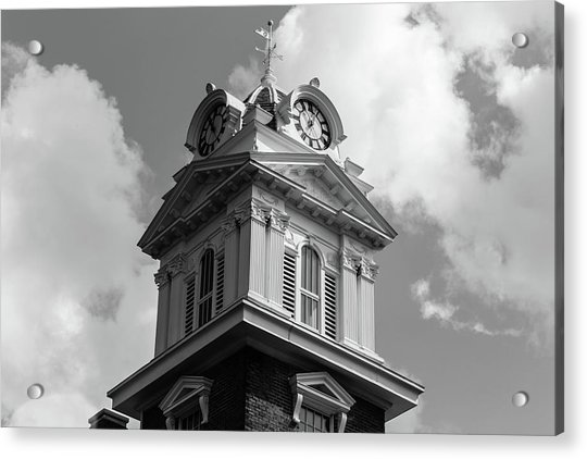Historic Courthouse Steeple In Bw Acrylic Print
