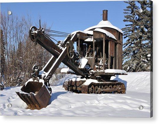 Historic Mining Steam Shovel During Alaska Winter Acrylic Print
