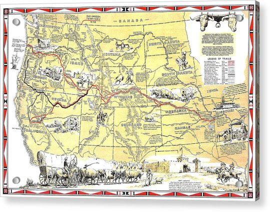 Historic Pioneer Trails Map 1843-1866 Acrylic Print