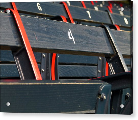 Historical Wood Seating At Boston Fenway Park Acrylic Print