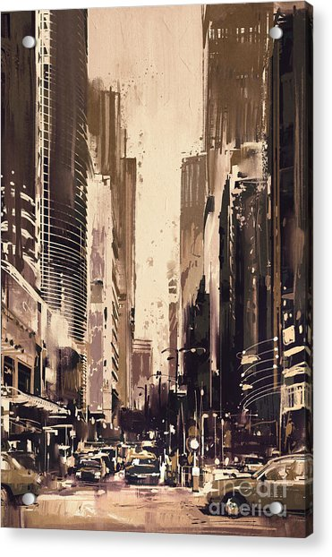 Acrylic Print featuring the painting Hong-kong Cityscape Painting by Tithi Luadthong