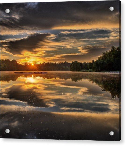 Hoyt Lake Sunrise - Square Acrylic Print
