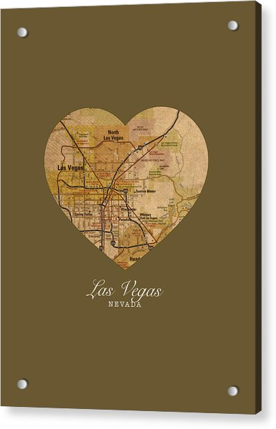 I Heart Las Vegas Nevada Vintage City Street Map Americana Series No 023 Acrylic Print