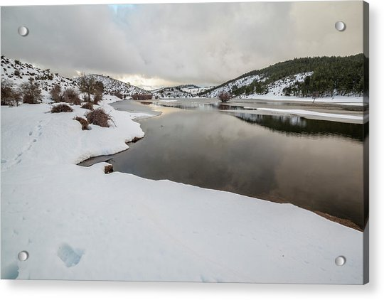 Ice In The River Acrylic Print