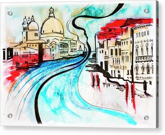illustration of travel, Venice Acrylic Print