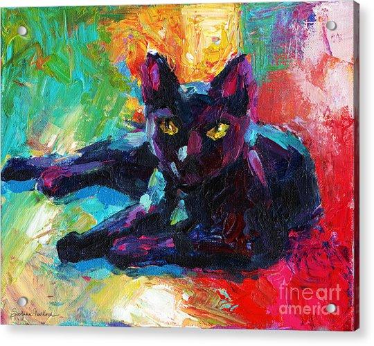 Impressionistic Black Cat Painting 2 Acrylic Print