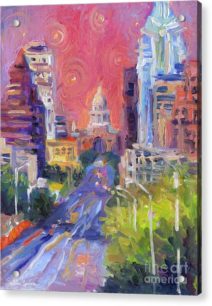 Impressionistic Downtown Austin City Painting Acrylic Print