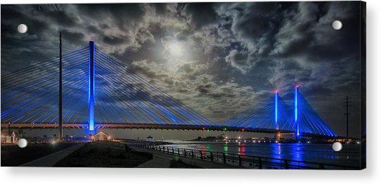 Indian River Bridge Moonlight Panorama Acrylic Print