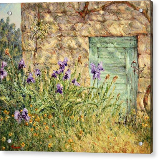 Irises At The Old Barn Acrylic Print