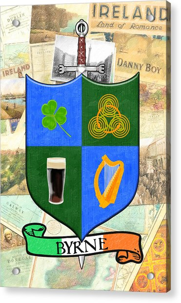 Irish Coat Of Arms - Byrne Acrylic Print by Mark Tisdale