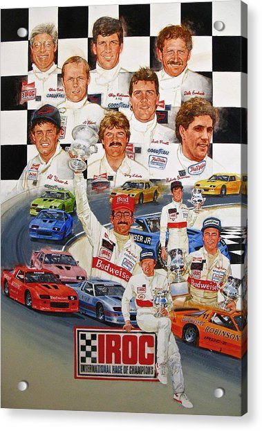 Acrylic Print featuring the painting Iroc Racing by Cliff Spohn