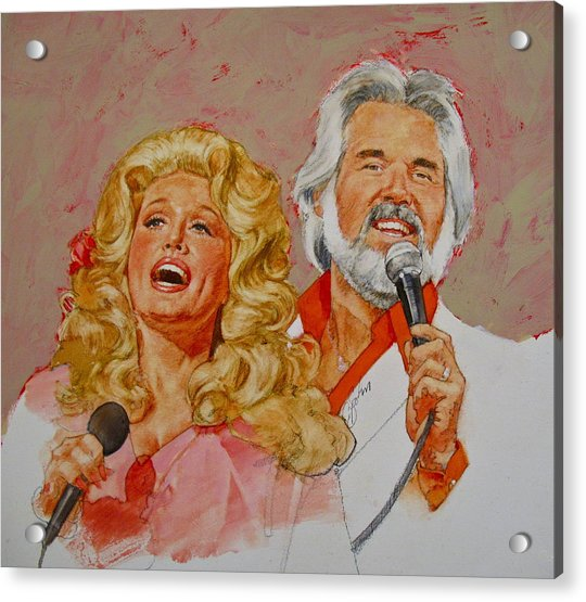 Acrylic Print featuring the painting Its Country - 8  Dolly Parton Kenny Rogers by Cliff Spohn