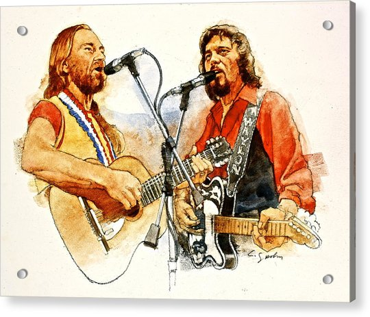 Acrylic Print featuring the painting Its Country - 7  Waylon Jennings Willie Nelson by Cliff Spohn