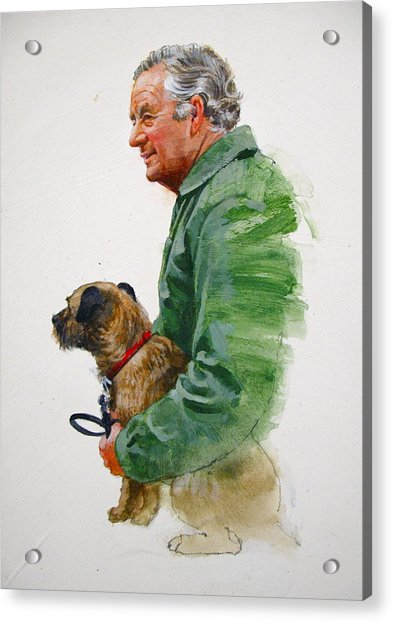 Acrylic Print featuring the painting James Herriot And Bodie by Cliff Spohn