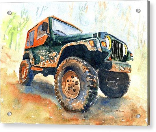 Jeep Wrangler Watercolor Acrylic Print