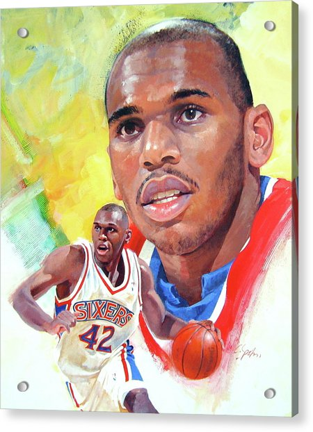 Acrylic Print featuring the painting Jerry Stackhouse by Cliff Spohn