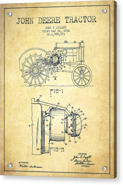 John Deere Tractor Patent Drawing From 1934 - Vintage Acrylic Print
