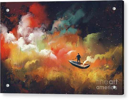 Acrylic Print featuring the painting Journey To Outer Space by Tithi Luadthong