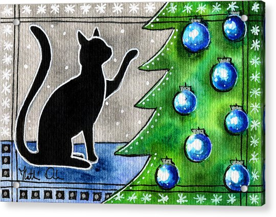 Just Counting Balls - Christmas Cat Acrylic Print