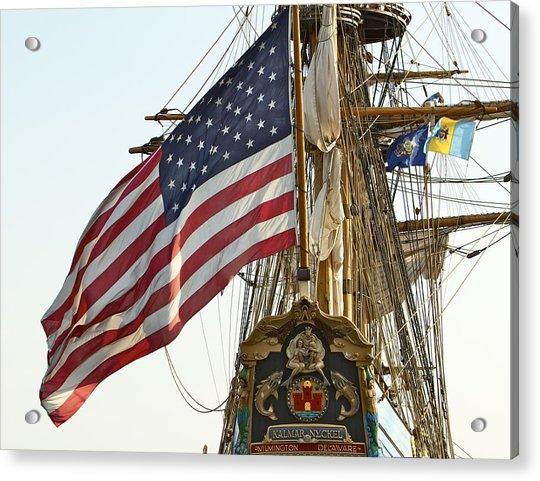 Acrylic Print featuring the photograph Kalmar Nyckel American Flag by Alice Gipson