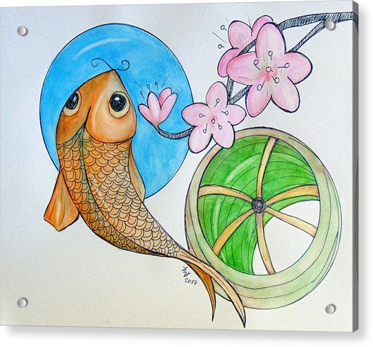 Karp And Cherry Blooms Acrylic Print