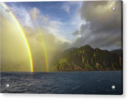 Kauai Sunset Rainbow Acrylic Print