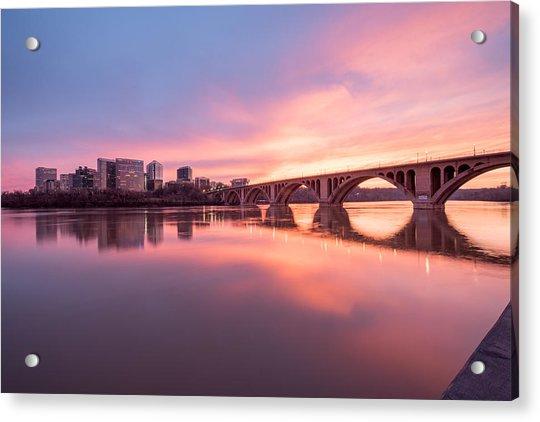 Key Bridge Sunset Acrylic Print by Michael Donahue