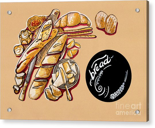 Kitchen Illustration Of Menu Of Bread Products  Acrylic Print