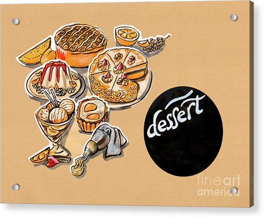 Kitchen Illustration Of Menu Of Desserts  Acrylic Print