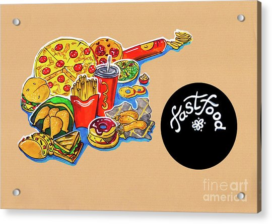 Kitchen Illustration Of Menu Of Fast Food  Acrylic Print