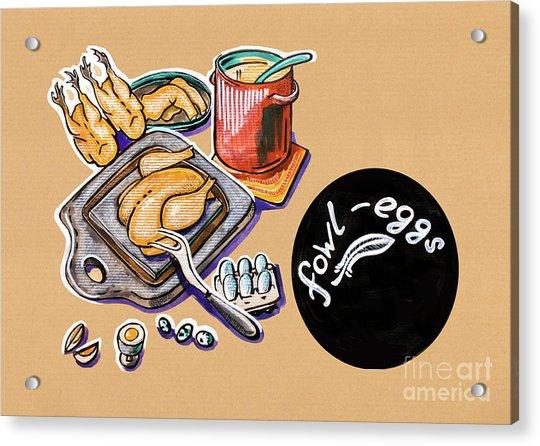 Kitchen Illustration Of Menu Of Fowl  Products  Acrylic Print
